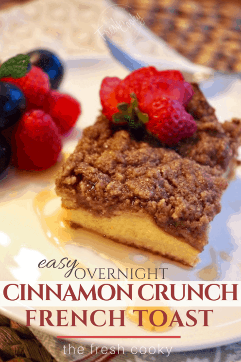 This overnight Cinnamon Baked French Toast Casserole is so incredibly easy and so mouthwatering good! And that cinnamon crumb topping! Perfect for a holiday make-ahead breakfast or brunch, or anytime you need a make-ahead morning casserole. #thefreshcooky #overnightfrenchtoast #cinnamonfrenchtoast #crumbtopping #pioneerwoman #holidaybrunchrecipe #holidayrecipes #breakfastcasserole #frenchtoast #makeahead #best