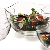 """Clear Glass Wavy Salad Bowl, Mixing Bowl, All Purpose Round Serving Bowl Salad/food Glass Bowls, Set of 5, One 10"""" and Four 5.25"""""""