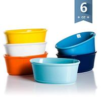 Sweese 5114 Porcelain Souffle Dishes 6 oz, Oval Ramekins for Baking, Set of 6, Hot Assorted Colors