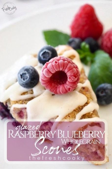 Glazed Raspberry Blueberry Scones