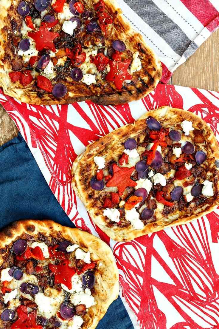 Grilled Pizza | Red Pepper, Blue Potato, & Goat Cheese