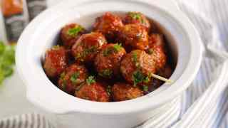 Slow Cooker Bourbon Whiskey BBQ Meatballs