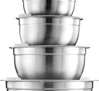 Stainless Steel Mixing Bowls with Airtight Lids (Set of 5) Nesting Bowls