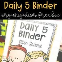 Daily 5 Organization Binder