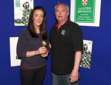 Front Row Union Development Player of the Year Rosie Quinn accepts her award from John McMurtry of the FRU.