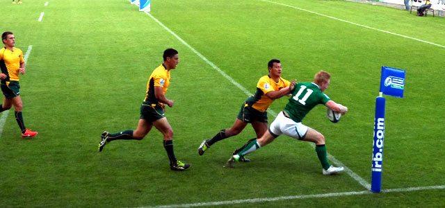 Rory Scholes crosses for Ireland's try against Australia. Picture Megan Joyce