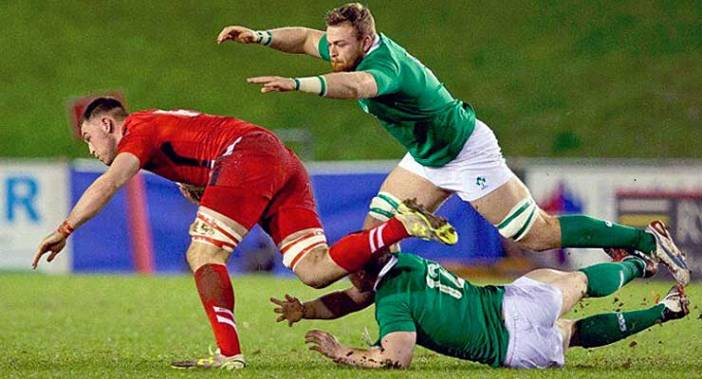 Ulster's Lorcan Dow, ready to pounce against Wales. in Ireland's U20 Six Nations match.