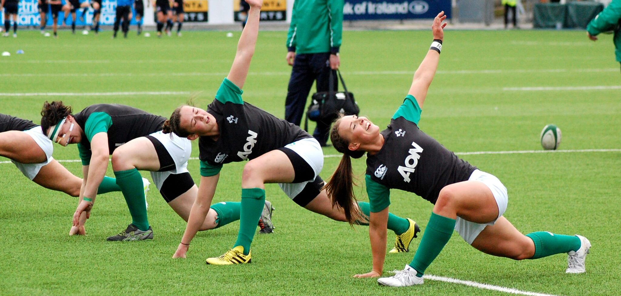Women: McLaughlin and Caughey put their hands up for selection.