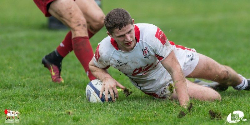 Jack Owens touches down for Ulster A against Scarlets Select