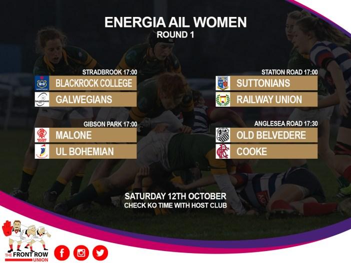 Energia AIL Women Round 1 fixtures