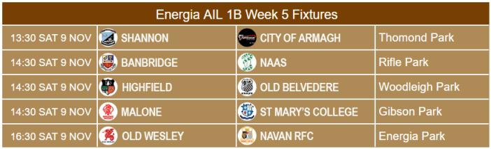 Energia AIL 1B fixtures Week 5