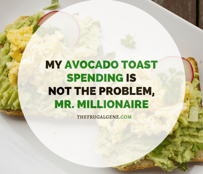 My Avocado Toast Spending Is Not The Problem, Mr. Millionaire