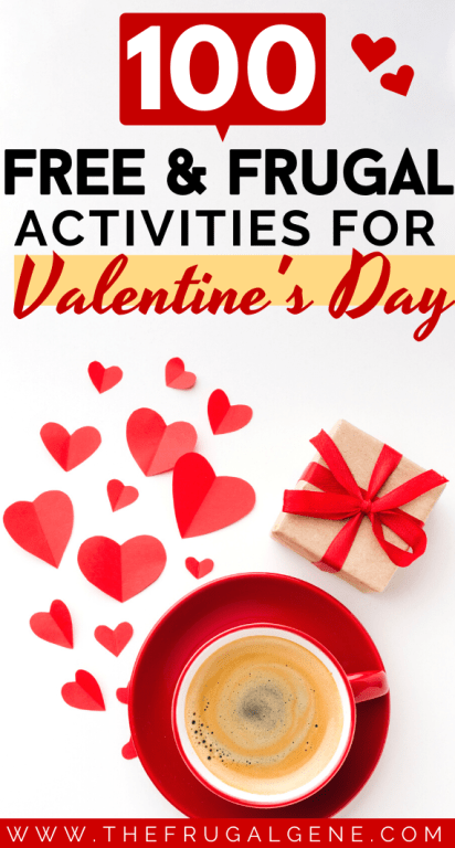 Fall in love again! #Pin this HUGE list of frugal, fun, cheap Valentines day activities for adults, young couples, broke couples, teens, families, women, penniless college students and beyond. All 100 things you can do at home to be romantic, ideas on what to do on vday, fun, Valentine's day on a budget, for couples at home, cheap date tips, activities for couples, for men, boyfriend, broke, marriage, DIY, save money, frugal vday ideas, free things to do with kids on #Feb14 #valentinesday #free