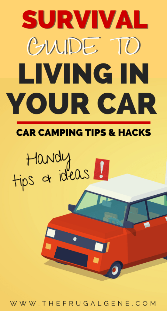 Save tons of rent money living in your car even if temporarily. Everything you need to know about living in cars for a while to save money. Plus tips, tricks, hacks & ideas on how to make it more comfortable even in winter while doing it legally - Living in car, homeless, hacks, DIY, saving money, ideas, tips, winter, small spaces, essentials, with dog, food survival guide, handy tips, storage set up, van life, legal, with kids, road trips, pets, rent free, camping, DIY, cats, family, #savemoney