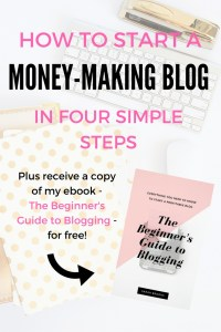Start a blog! Are you ready to start a money-making blog and change your financial future?! I've been blogging for two years and am now making a consistent income each money in just a few hours total! Join me on my journey of starting a blog and receive my ebook for FREE!