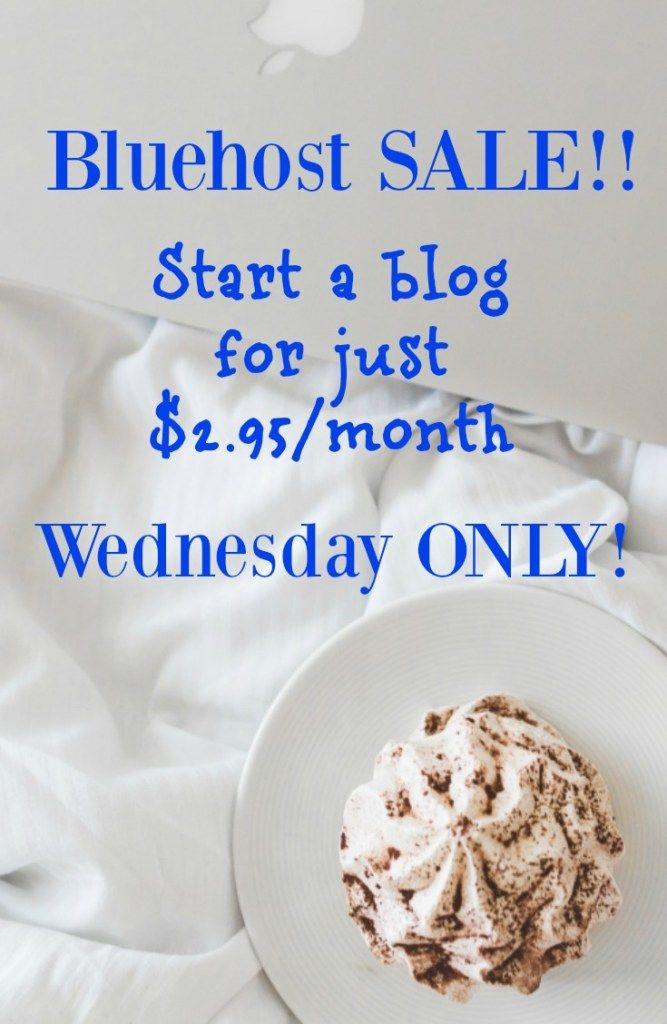 Are you on the fence about starting a blog?! If so, TODAY is the day to dive in head-first! Bluehost is offering a HUGE discount ($2.95/month down from $3.95/month plus a FREE domain name!) on Wednesday only! Plus, by taking advantage of this Bluehost sale, I'll give you my beginner's guide to blogging ebook for free! This deal cannot be beat! Use my link to get your discount!!