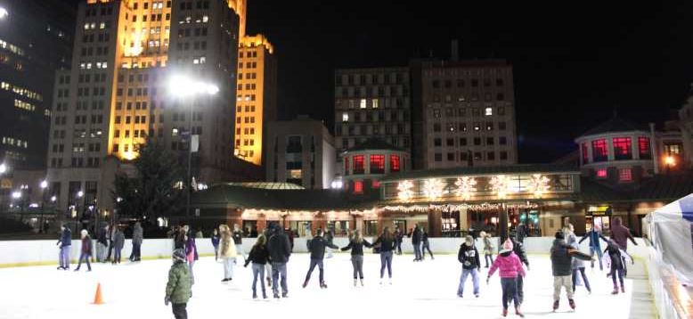 Ice skating at the Alex and Ani City Center