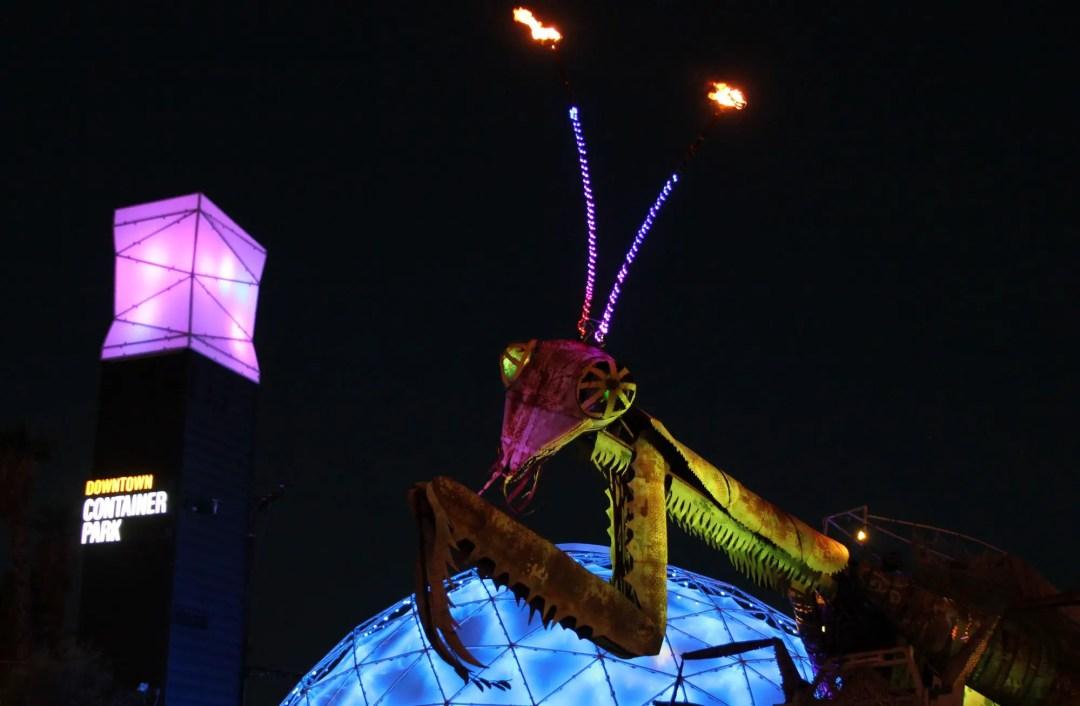 Fire-breathing praying mantis from Burning Man