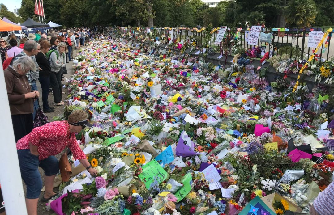 Flowers mourning the mosque shootings in front of the Botanical Gardens in 2019