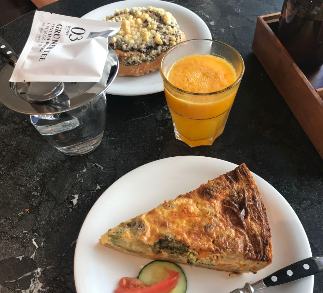 Pastry and quiche for breakfast in Freburg