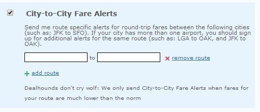 city to city fare alerts image