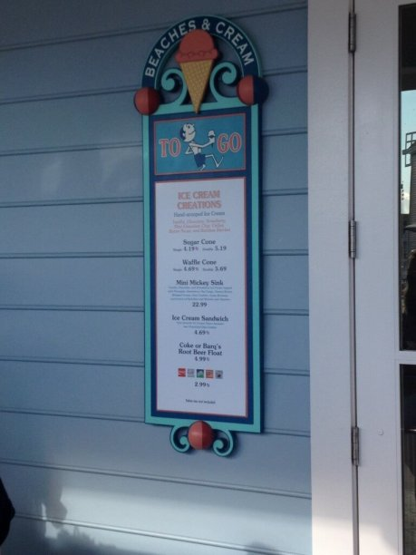 beaches and cream to go menu outside