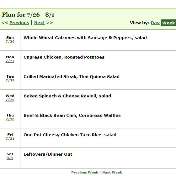 week long dinner meal plan schedule