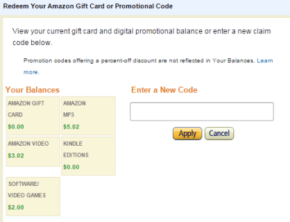 Redeem your amazon gift card or Amazon promotional credit image