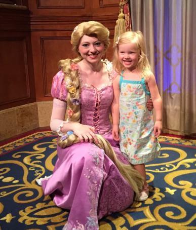 little girl meeting rapunzel