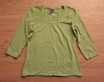 long sleeve green striped shirt