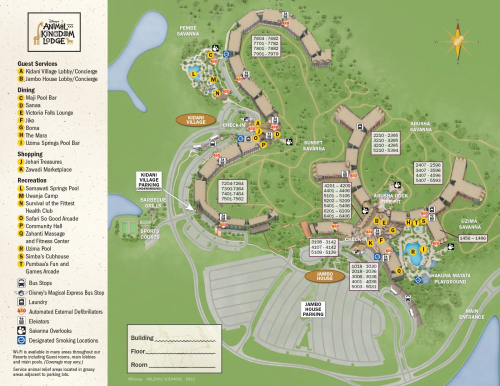 Disney Animal Kingdom Lodge map - Jambo House or Kidani Village