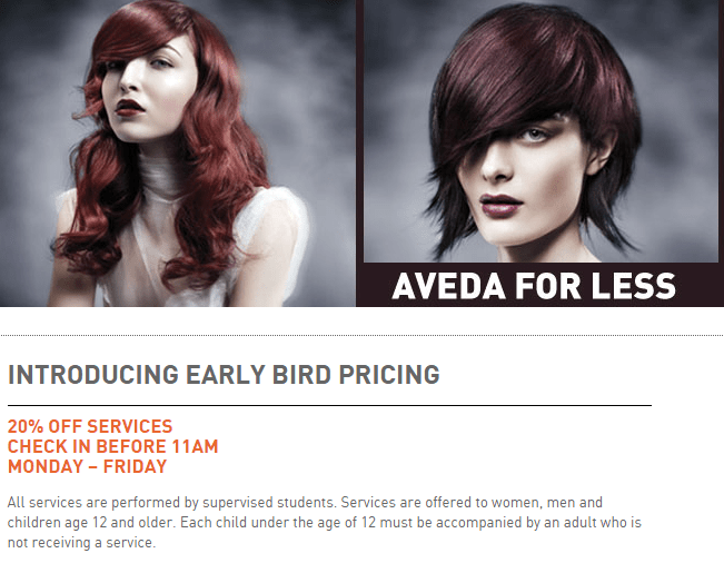 Aveda early bird pricing promotion