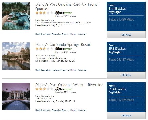 disney resorts on skymiles marketplace