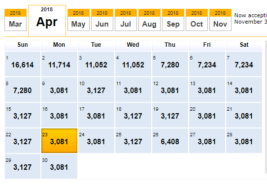 "calendar with points ""price"""