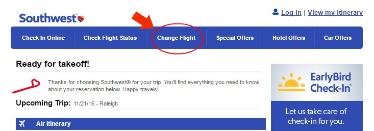 Southwest change flight on website