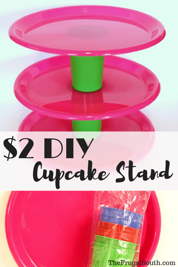 diy cupcake stand with supplies from dollar tree