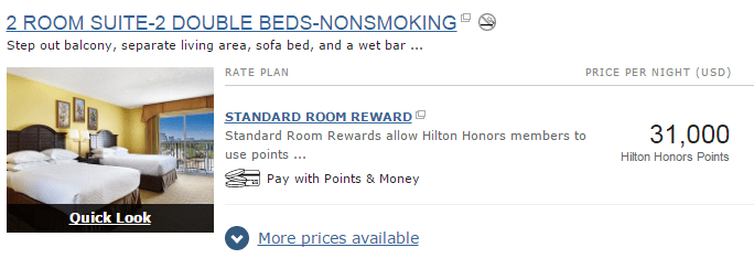 Room with Hilton Honors Points per night