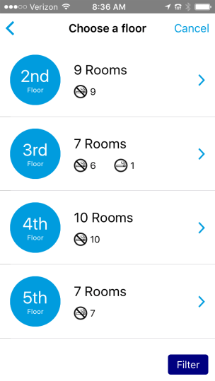 choose a floor on the hilton app