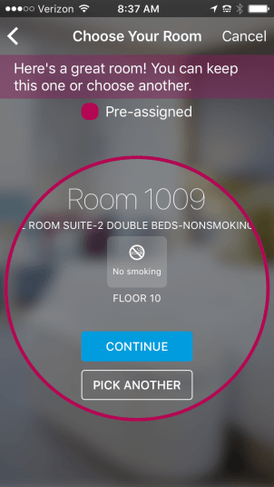 choose your room in the hilton app