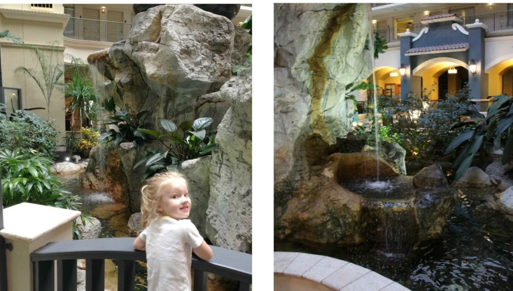 rock and water features in the hotel atrium