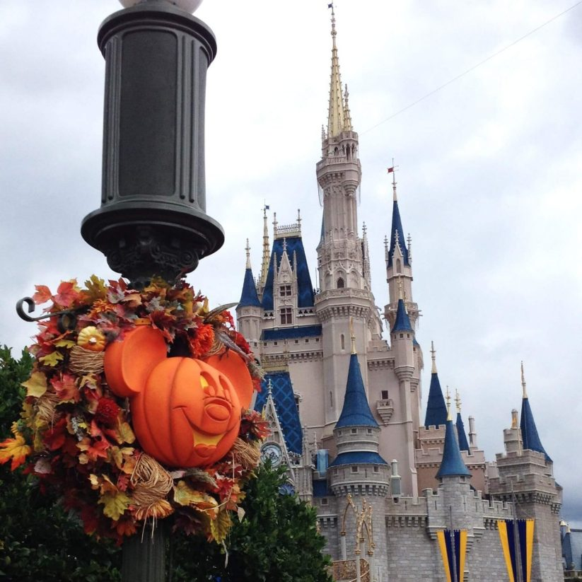 Mickey pumpkin in front of Cinderella's castle