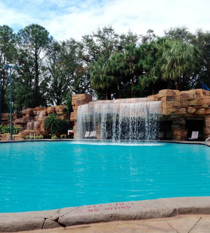 waterfall in resort pool