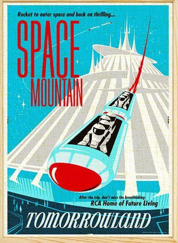 vintage space mountain poster - disney gifts for adults