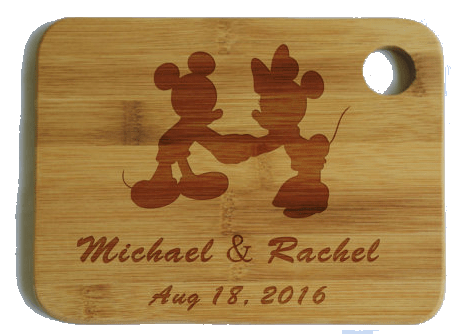 personalized cutting board with mickey and minnie mouse