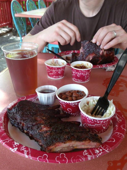 rib meal at flame tree barbecue in animal kingdom
