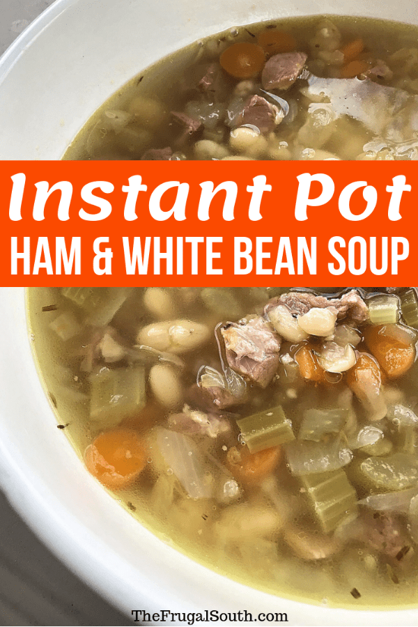 An easy and cheap Instant Pot Bean and Ham soup that is delicious, too! Use your pressure cooker to cut the time down to under 30 minutes for this easy soup. #easyrecipes #instantpot