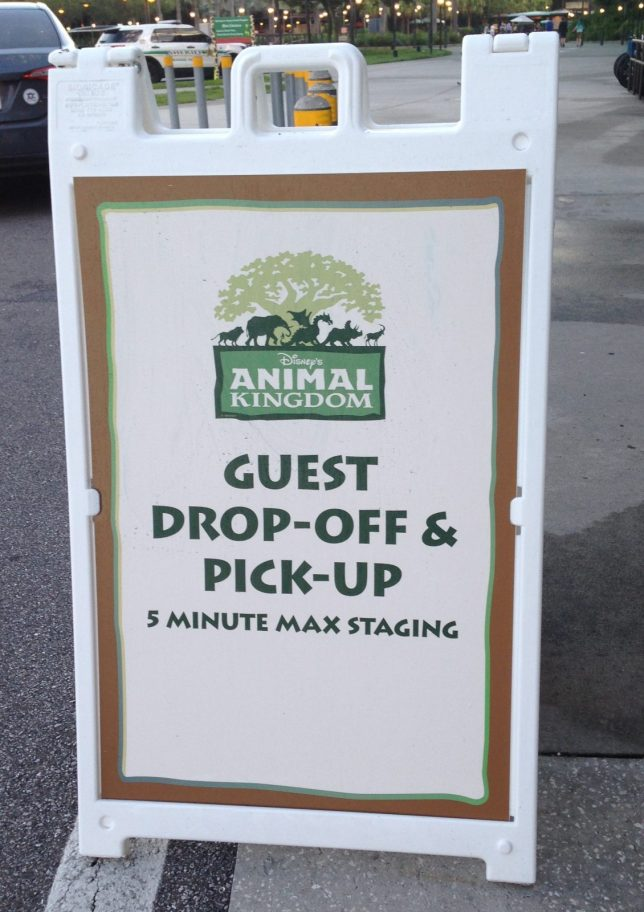 Guest Drop-off and Pick-up sign at Animal Kingdom