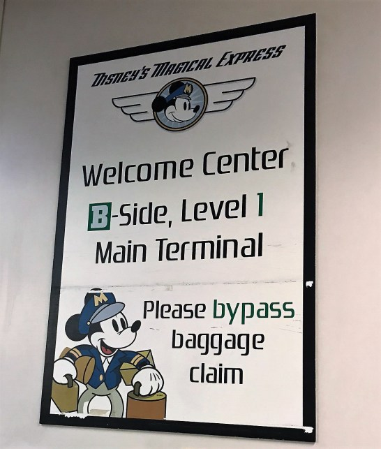 Disney Magical Express sign in Orlando International Airport