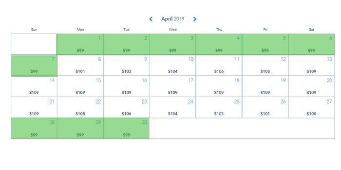 April 2019 calendar showing the slowest times at Disney World