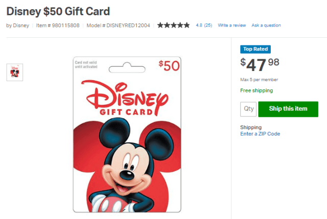example of disney gift card discount from Sam's Club